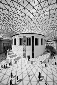 British Museum by Norman Foster. I like the intervention how Norman Foster creates, but I don't like the collections of British Museum. It seems like too many plunders from other countries in the museum. Architecture Design Concept, London Architecture, Amazing Architecture, Art And Architecture, Foster Architecture, British Architecture, Installation Architecture, Norman Foster, British Museum