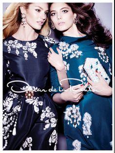 Oscar de la Renta Vogue September issue Ad. Love the printed dresses and high neck lines!