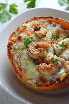 Skinny Shrimp Parmesan Spaghetti Squash - Baker by Nature Healthy Eating Recipes, Veggie Recipes, Fish Recipes, Seafood Recipes, Pasta Recipes, Vegetarian Recipes, Cooking Recipes, Healthy Cooking, Healthy Foods