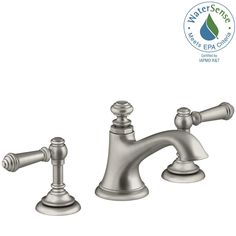 KOHLER Artifacts 8 in. Widespread 2-Handle Bell Design Bathroom Faucet in Vibrant Brushed Nickel with Lever Handles