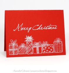 Silver and red Sketched Christmas Card with Coordinating Envelope