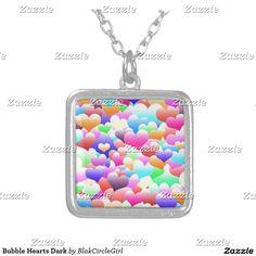 Bubble Hearts Dark Silver Plated Necklace