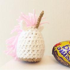 Unicorn Creme Egg Cosy Magical Crochet Cadburys by WoollyPigCo