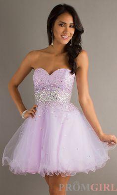 Strapless Beaded Party Dress, Mori Lee Short Prom Dress- PromGirl