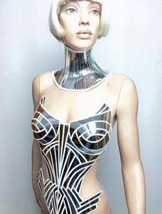 1865209de3 chrome metropolis corset sci fi costume metal corset burlesque fetish  cyberpunk futuristic clothing divamp couture goddess