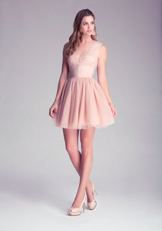 Bebe Flare Puff Skirt Dress in Pink (rose) | Lyst