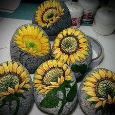 Work in progress #Rock Painting #sunflower