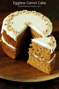 eggless carrot cake – moist, delicious & flavorful mildly spiced carrot cake without eggs. Eggless Carrot Cake, Carrot Spice Cake, Easy Carrot Cake, Gluten Free Carrot Cake, Moist Carrot Cakes, Cake Recipes For Kids, Easy Cake Recipes, Dessert Recipes, Free Recipes