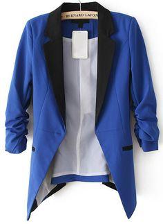 Blue Contrast Notch Lapel Long Sleeve Blazer US$33.61