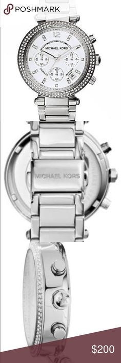 Michael Kors Parker Silver and crystal tone watch Beautiful watch. Perfect for women of all ages. Amazing crystal detail around the watch dial. Silver Michael Kors watch. Michael Kors Accessories Watches