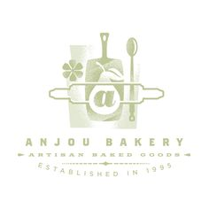 Gardner Design - Anjou Bakery logo design featuring cooking utensils such as a rolling pin, cutting board, and spoon along with a pear. Type Theory, Restaurant Identity, Bakery Logo Design, Graphic Projects, Identity Design, Corporate Identity, Brand Identity, Pin Logo, Logo Images