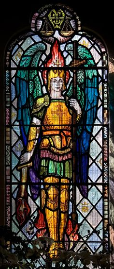 elf   A fey St Michael - not-very-good 20thC glass in Rochford church, Herefordshire.   by mym