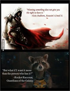 Ezio and Rocket Dc Memes, Marvel Memes, Funny Memes, Funny Quotes, Hilarious, Assassins Creed Memes, Gaurdians Of The Galaxy, Rocket Raccoon, Marvel Cinematic Universe