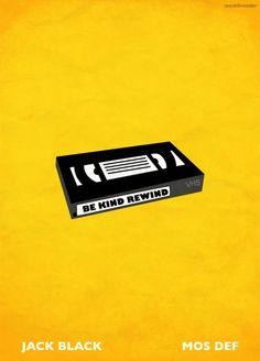 Be Kind Rewind minimalist movie poster