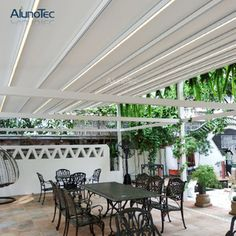 Outdoor Wind Resistance Waterproof Aluminium PVC Retractable Awning Roof with LED - Buy PVC Pergola, Retractable Pergola, Retractable Awning Product on Aluminum Pergola-AlunoTec Outdoor Shade, Outdoor Pergola, Pergola Ideas, Aluminum Pergola, Retractable Pergola, Awning Roof, Modern Gazebo, Garden Awning, Hot Tub Patio