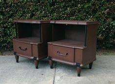 Los Angeles: Retro Chocolate Brown Mid Century Nightstands $140 - http://furnishlyst.com/listings/128031