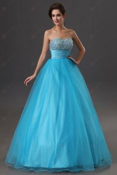 Princess Beadings Bustband Strapless Sweetheart Dropped Tulle Evening Gowns