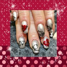 #nailart #acrylicnails #handpainted #valentine's #antivalentines
