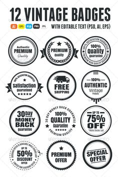 12 Vintage Ecommerce Badges | Buy and Download: http://graphicriver.net/item/12-vintage-ecommerce-badges/6208342?WT.ac=category_thumb&WT.z_author=Romet6&ref=ksioks