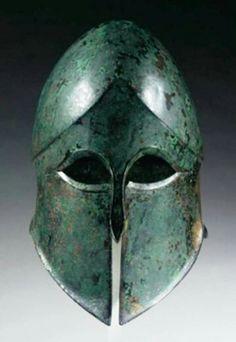 Greek Corinthian bronze helmet, Century B. Helmet Armor, Warrior Helmet, Arm Armor, Spartan Helmet, Ancient Armor, Medieval Armor, Greek History, Ancient History, Greek Artifacts