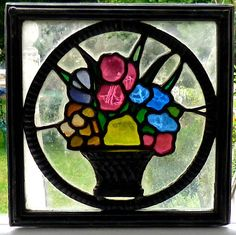 Victorian Arts Crafts Period Stained Glass Panel Circa 1880
