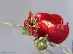 Купить Красная Роза. Шпилька для украшения прически. Ювелирное украшение. Kanzashi Flower Hair. Kanzasi Exquisite Wire and Resin Kanzashi Flower Hair Jewelry