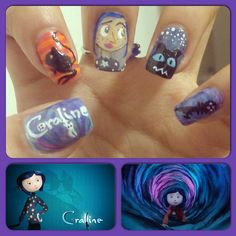 Coraline nails! Movie Nailart love.