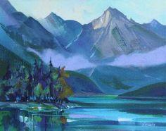 "'Medicine Lake' by Canadian Artist Zoe Evamy. Acrylic on Canvas, 16""x20"". #CanadianArt #AcrylicOnCanvas #Painting"