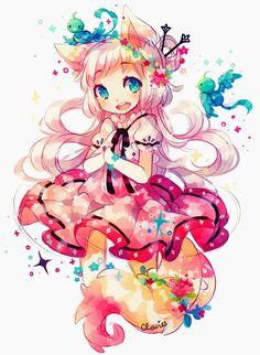 chibi to pet Anime Neko, Otaku Anime, Manga Anime, Kpop Anime, Kawaii Chibi, Kawaii Anime Girl, Anime Girls, I Love Anime, Awesome Anime