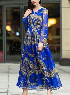 Shop for high quality Ethnic Silk Print V-neck Maxi Dress online at cheap prices and discover fashion at Ezpopsy.com