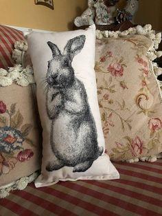 Small Pillows, Decorative Pillows, Throw Pillows, Jack Rabbit, Bunny Rabbit, Easter Garden, Country Girls, Cotton Canvas, Screen Printing