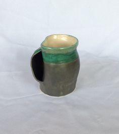 Grey and variegated green  mug left hand by EastburnOriginals
