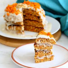 Vegan Carrot Cake Pancakes with roasted carrots, walnuts and Coconut Cream frosting. gf option.