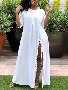 Ericdress Split Casual Ankle-Length Simple Plain Dress Fashion girls, party dresses long dress for short Women, casual summer outfit ideas, party dresses Fashion Trends, Latest Fashion # Black Women Fashion, Womens Fashion, Ladies Fashion, Fashion Trends, Fashion Today, Everyday Fashion, Fashion Online, Fashion Ideas, Fashion Tips