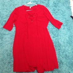 ASOS red dress with cross cross v neck Super cute Criss cross v neck design only worn twice ASOS Dresses