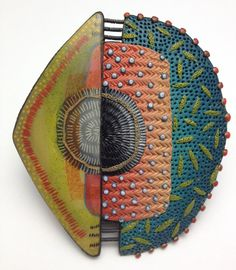 Kathleen Dustin's Tribal Pin 3. Inspired by Vicki Grant's clay work.
