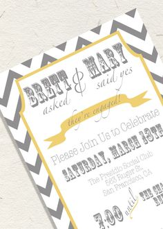 Printable Custom Engagement Party Invitation. $10.00, via Etsy.