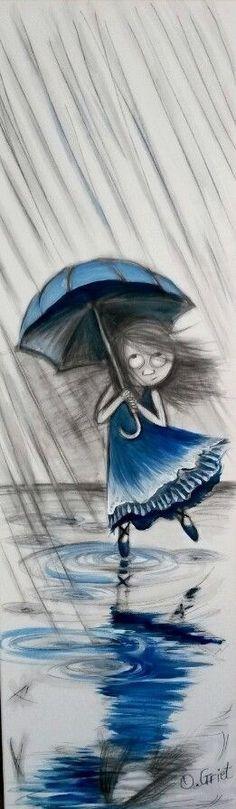 Super Dancing In The Rain Painting Umbrellas Rainy Days Ideas Umbrella Painting, Rain Painting, Rain Umbrella, Art Et Illustration, Illustrations, Drawing Rain, Dancing Drawings, Rain Art, Walking In The Rain