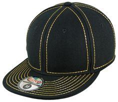 Blank Heavy Stitch Fitted Cap - Black/Metallic Gold