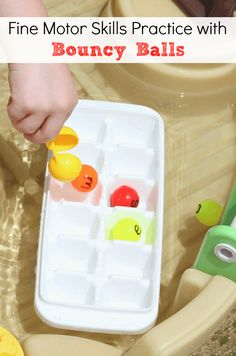 Fine Motor Skills Practice with Bouncy Balls in a Water Table from Mom Inspired Life