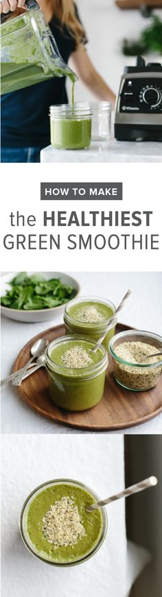 Want to know how to make the healthiest green smoothie? You don't even need a recipe, just grab a variety of greens, fruits and these superfood add-ins. Yummy Smoothie Recipes, Smoothie Drinks, Smoothie King, Vitamix Recipes, Blender Recipes, Shake Recipes, Healthy Green Smoothies, Fruit Smoothies, Healthy Drinks