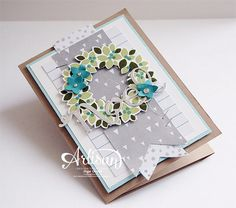 Wondrous Wreath, Wonderful Wreath Framelits Dies, All is Calm Specialty DSP, Silver Foil,Diorama Card  -Inge Groot-