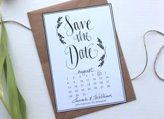 FREE Save the Date Printable from Love Paper Crane. Hand drawn calligraphy