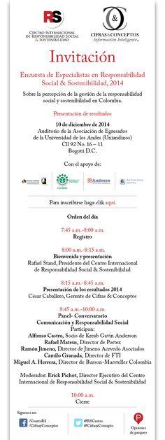 Invitación Resultados Encuesta Percepción RS. Centro RS, Cifras & Conceptos.