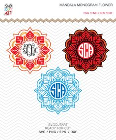 Mandala Flower Monogram SVG DXF PNG eps Summer Margarita Cut File for Cricut Design, Silhouette studio, Sure A Lot, Makes the Cut by SvgCutArt on Etsy