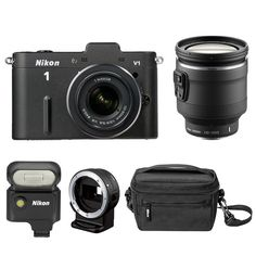 """$849.00    10.1Mp 13.2 x 8.8mm CMOS CX Image Sensor  EXPEED 3 Image Processor  3.0"""" LCD Display  1920 x 1080/60i Movie Capture  Electronic Viewfinder  Advanced Hybrid AF  100-3200 and 6400 ISO  Nikon 1 Lens Mount  Includes 10-30mm and 10-100mm Lens  Includes Flash, Mount Adapter and Case"""