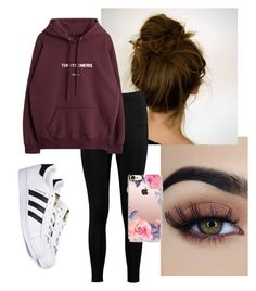 """""""Messy Messy"""" by hhannahss on Polyvore featuring Boohoo, adidas and Casetify"""