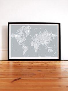 World Type Map in Warm Grey - decorative screen print