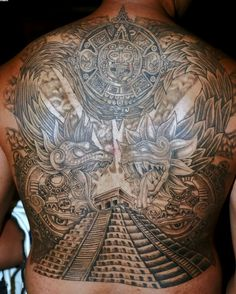Check out Aztec pyramid tattoo or other aztec back tattoo designs that will blow your mind, tattoo ideas that will be your next inspiration. Mayan Tattoos, Leg Tattoos, Body Art Tattoos, Tattoos For Guys, Tatoos, Kneck Tattoos, Backpiece Tattoo, Chest Tattoo, Dagger Tattoo