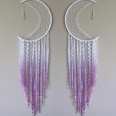 Beautiful And Stunning Dream Catcher Ideas - Traumfänger - Diy Dreamcatcher Crochet, Moon Dreamcatcher, Dreamcatchers Diy, Dreamcatcher Design, Diy Tumblr, Crafts To Sell, Diy And Crafts, Arts And Crafts, Beach Crafts